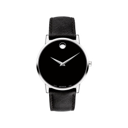 Movado Museum Classic Black Leather Men's Watch  #0607194 (產品編號: S000369)